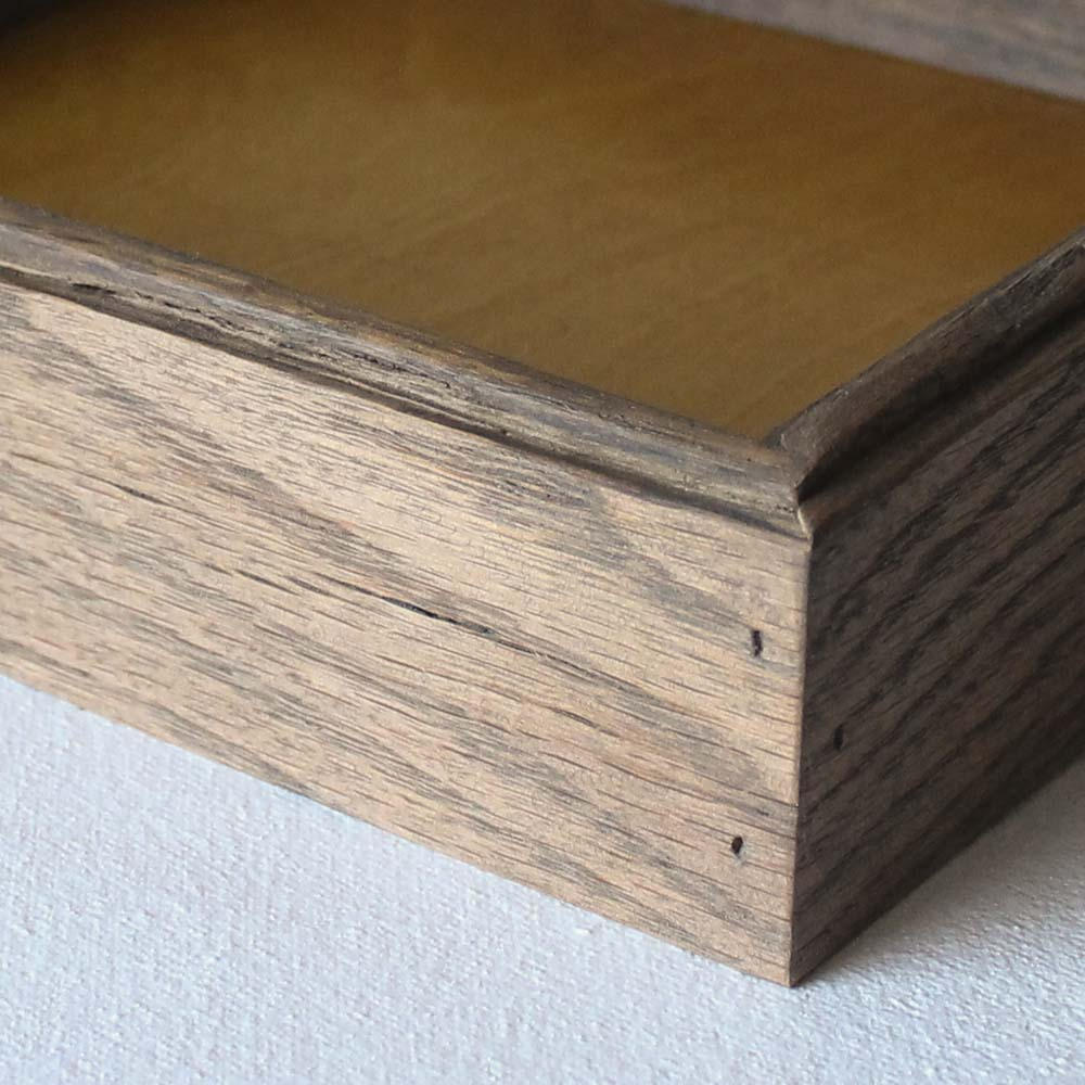 Reclaimed Wood Valet Tray - Mustard Yellow with Weathered Oak Sides