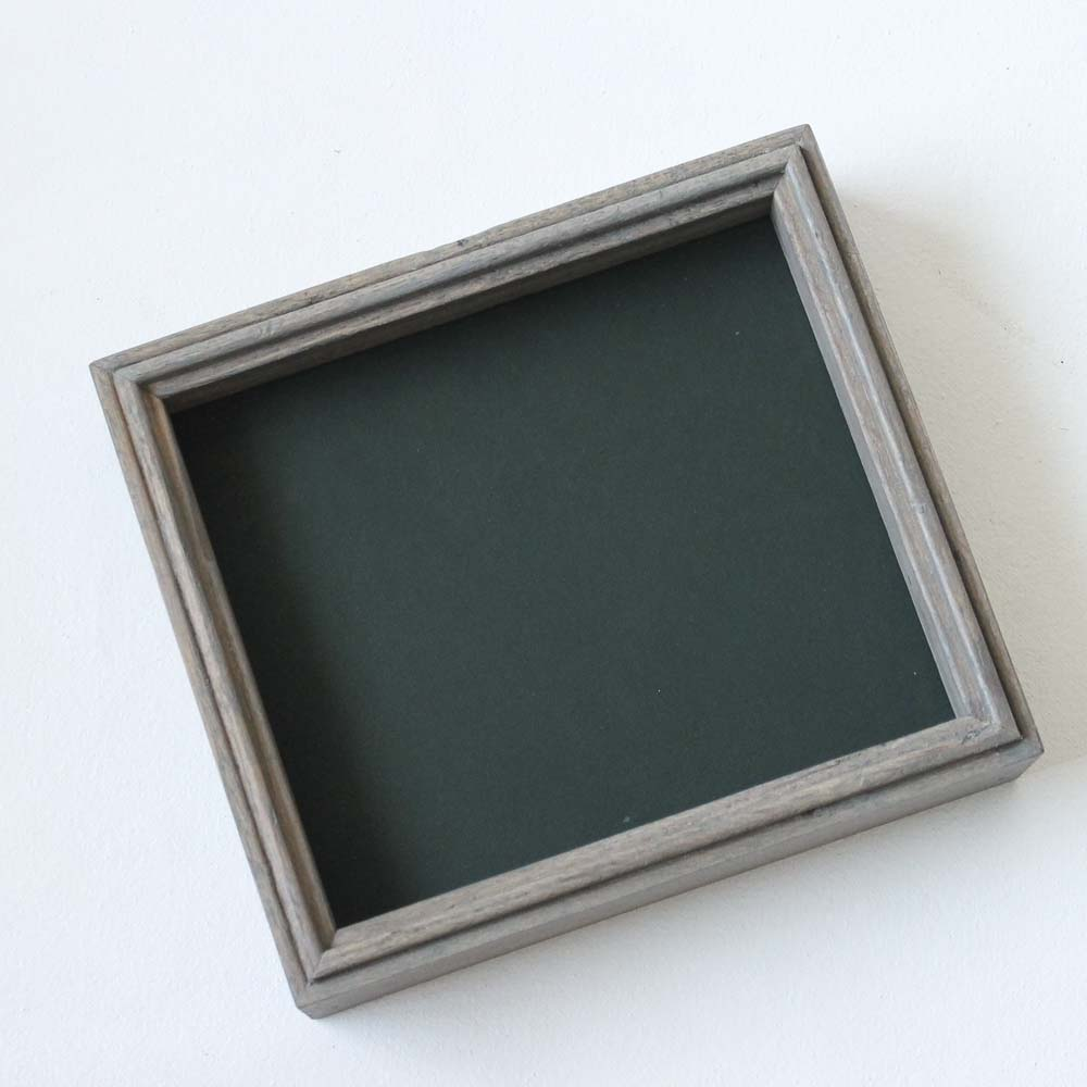 Leather Lined Valet Tray - Deep Green Leather with Gray Sides