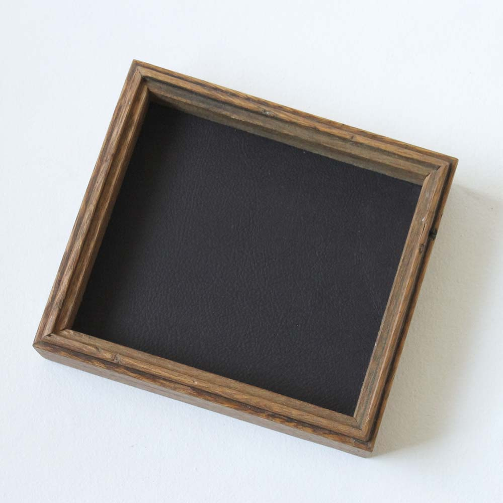 Leather Lined Valet Tray - Deep Deep PurpleLeather with Natural Sides