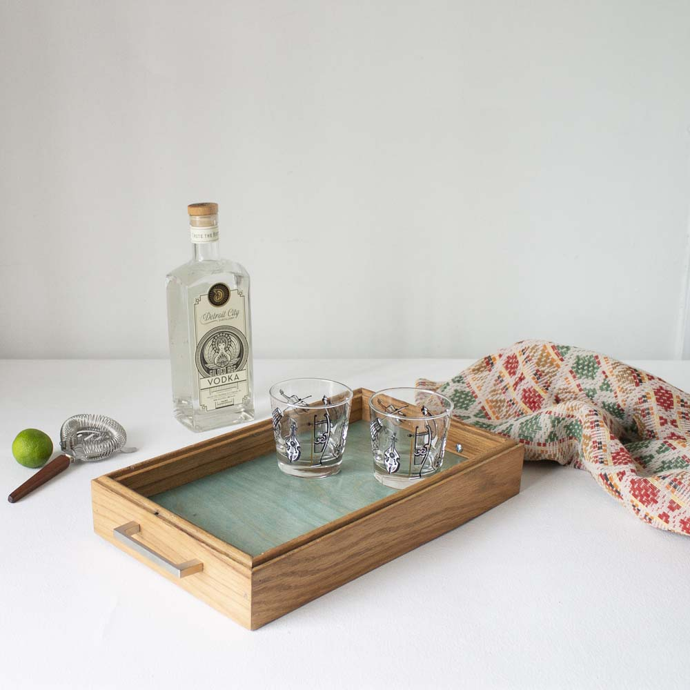 Canfield Cocktail Tray - Aqua Blue Birch + Golden Oak