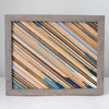 Large Reclaimed Wood Assemblage | Wall Hanging | Oak and Pine with Cool Grey Frame