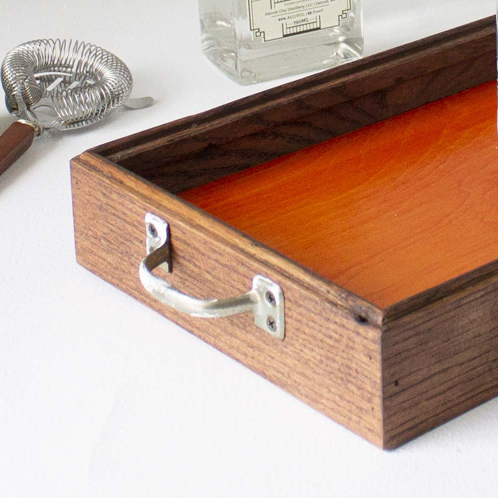 Canfield Cocktail Tray - Orange Birch + Red Brown Oak