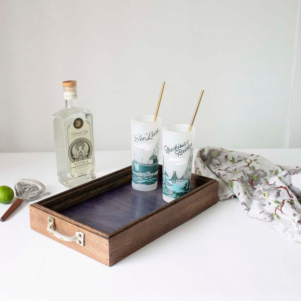 Canfield Cocktail Tray - Indigo Blue Birch + Dark Brown Oak