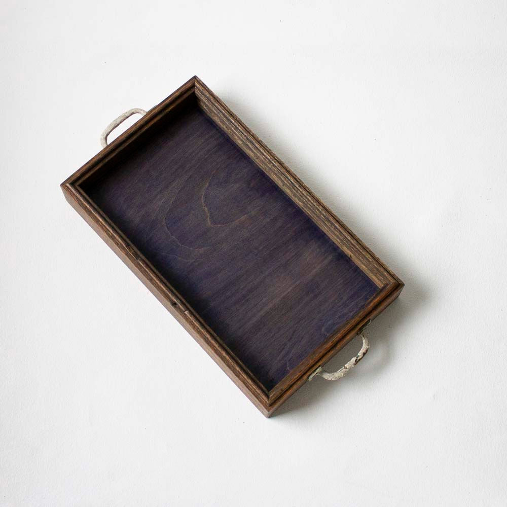 Canfield Cocktail Tray - Indigo Blue Birch + Dark Brown Oak, Mutual Adoration, Handcrafted Home Goods and Gifts