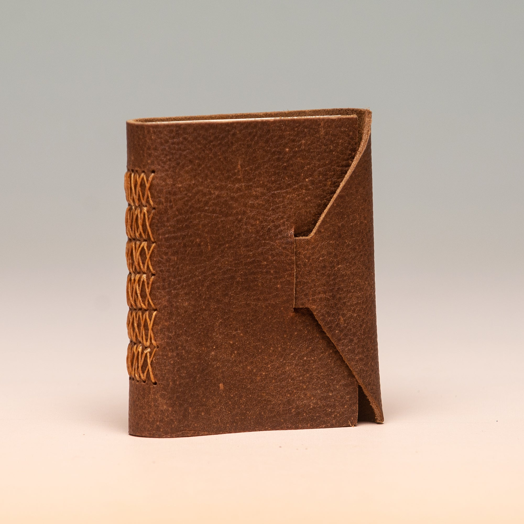 Hand-Bound Hand Sewn Leather Pocket Journal in Rich Brown