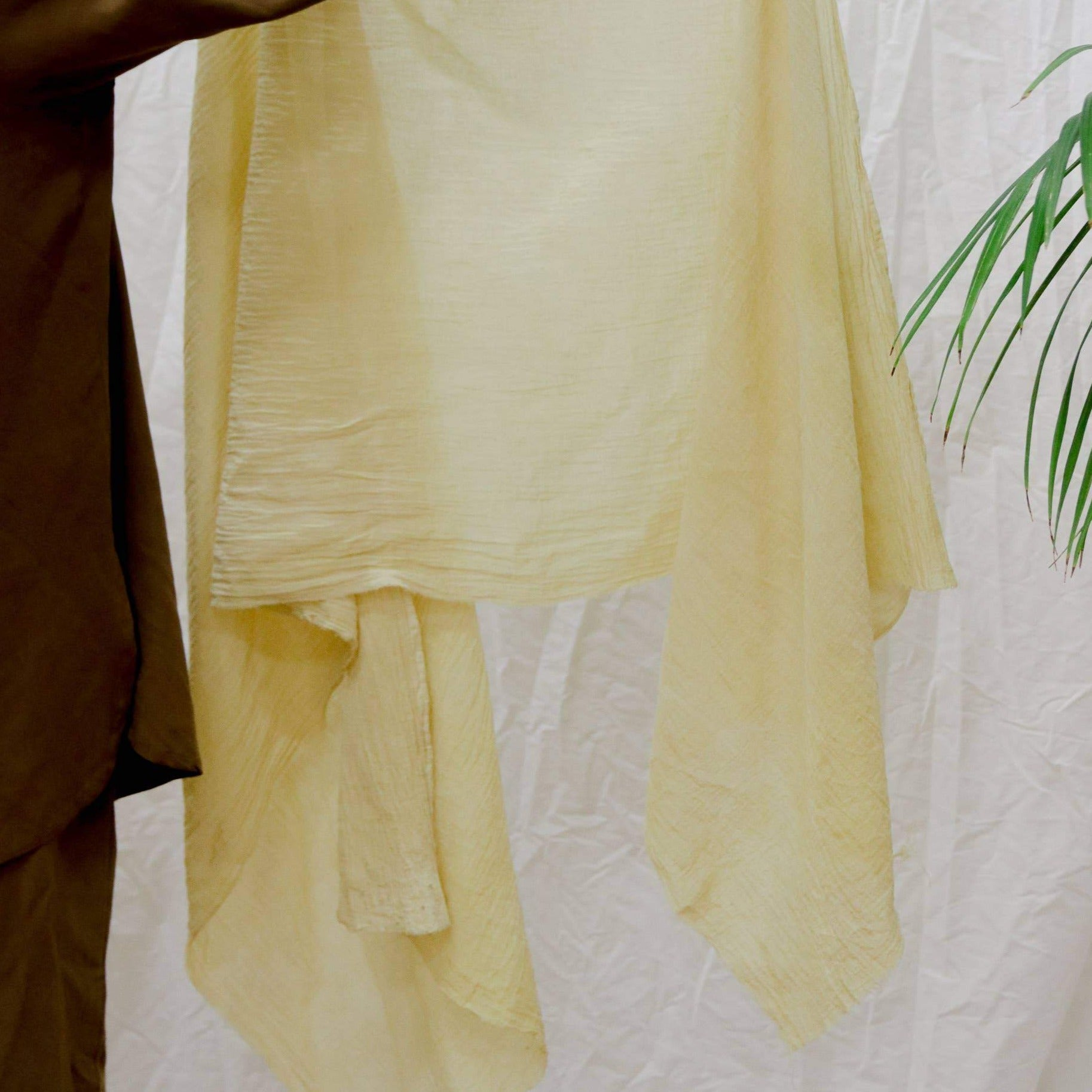 Plant Dyed Cotton Gauze Scarf - Lemon Yellow, Rosemarine Textiles, Handcrafted Home Goods and Gifts
