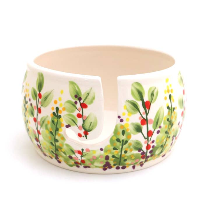 Ceramic Yarn Bowl in Floral Garden Print