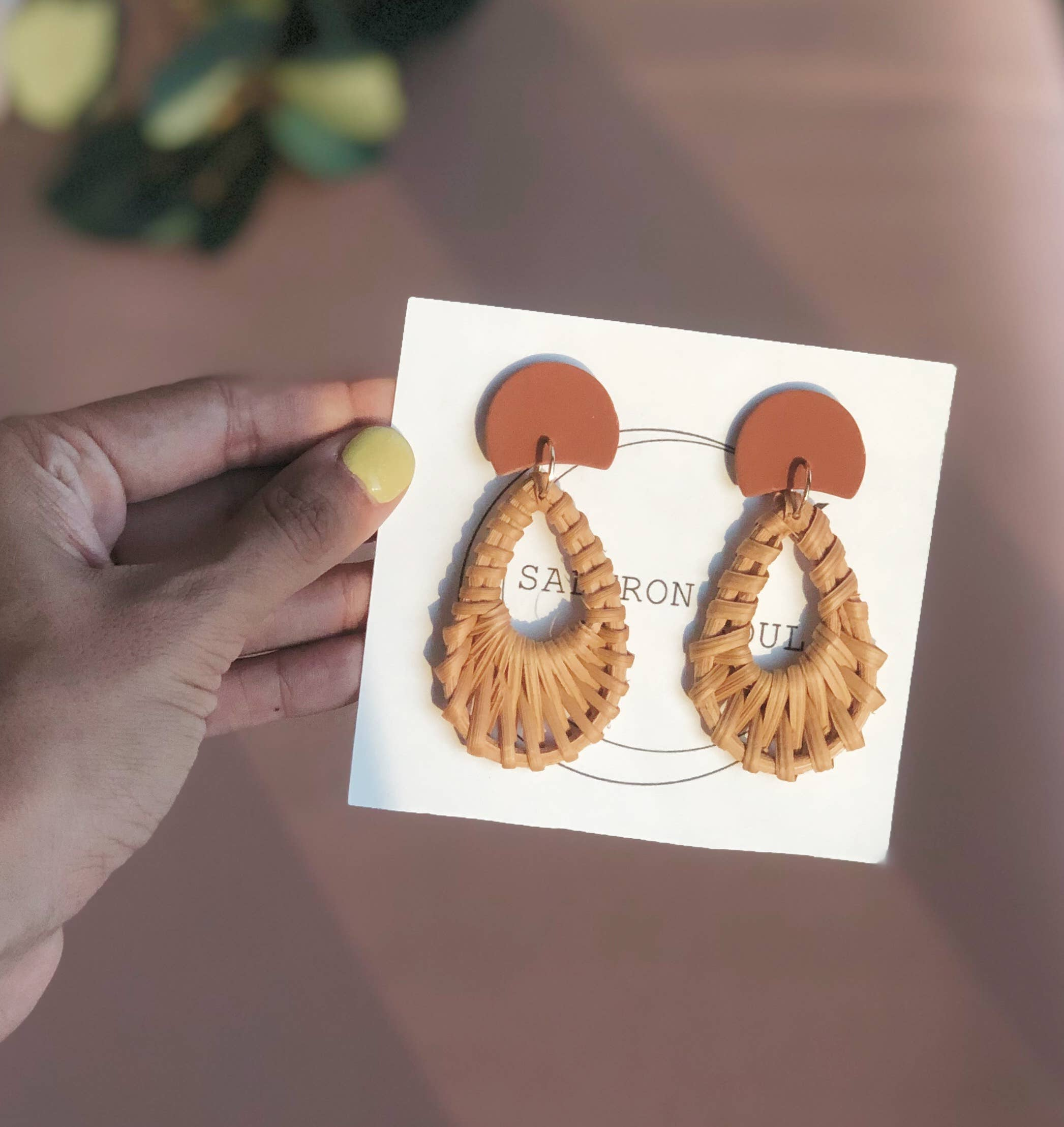 RATTAN + CLAY | Half Moon Teardrop Dangles