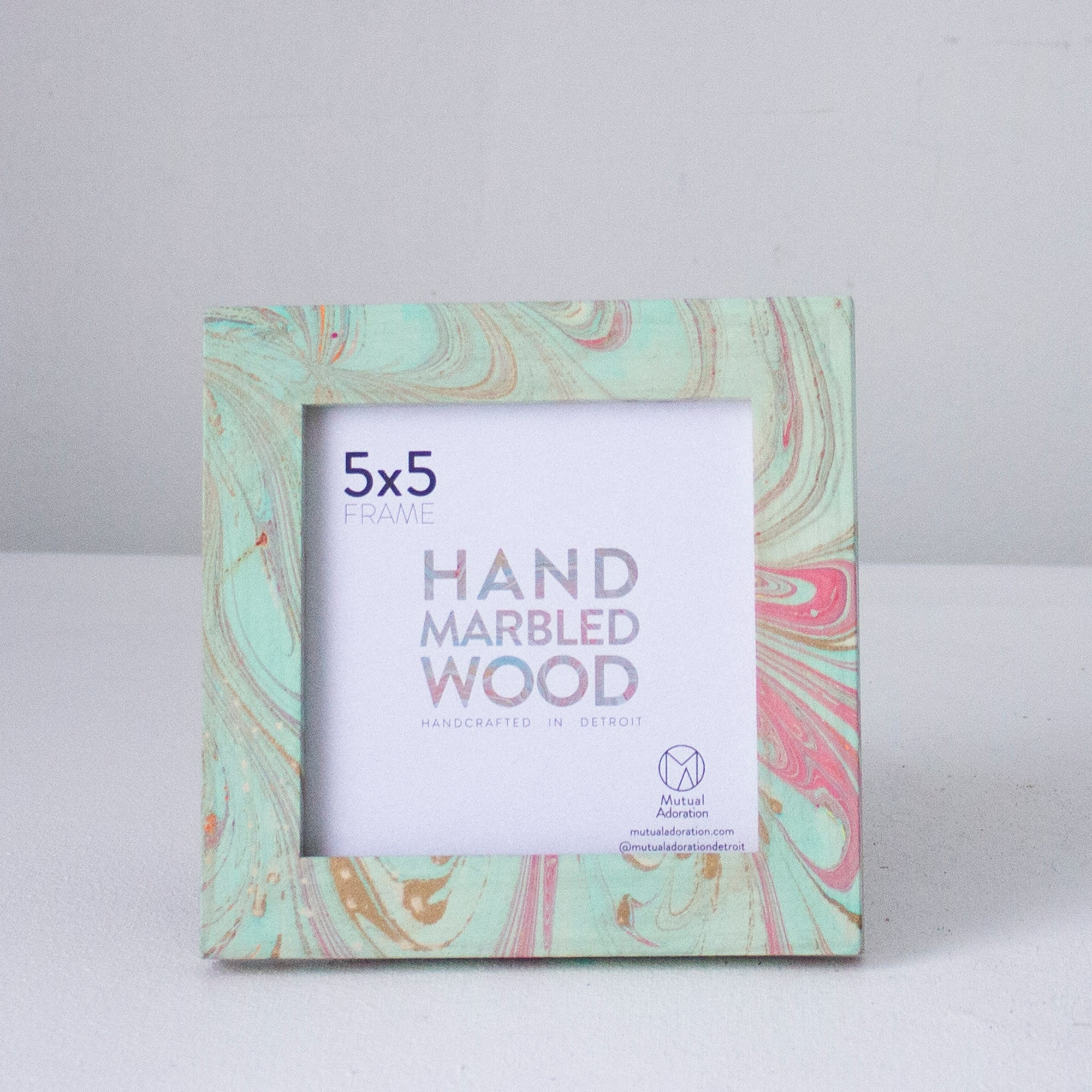 5x5 Hand Marbled Wood Frame - Aqua Blue + Pink + Metallic Gold