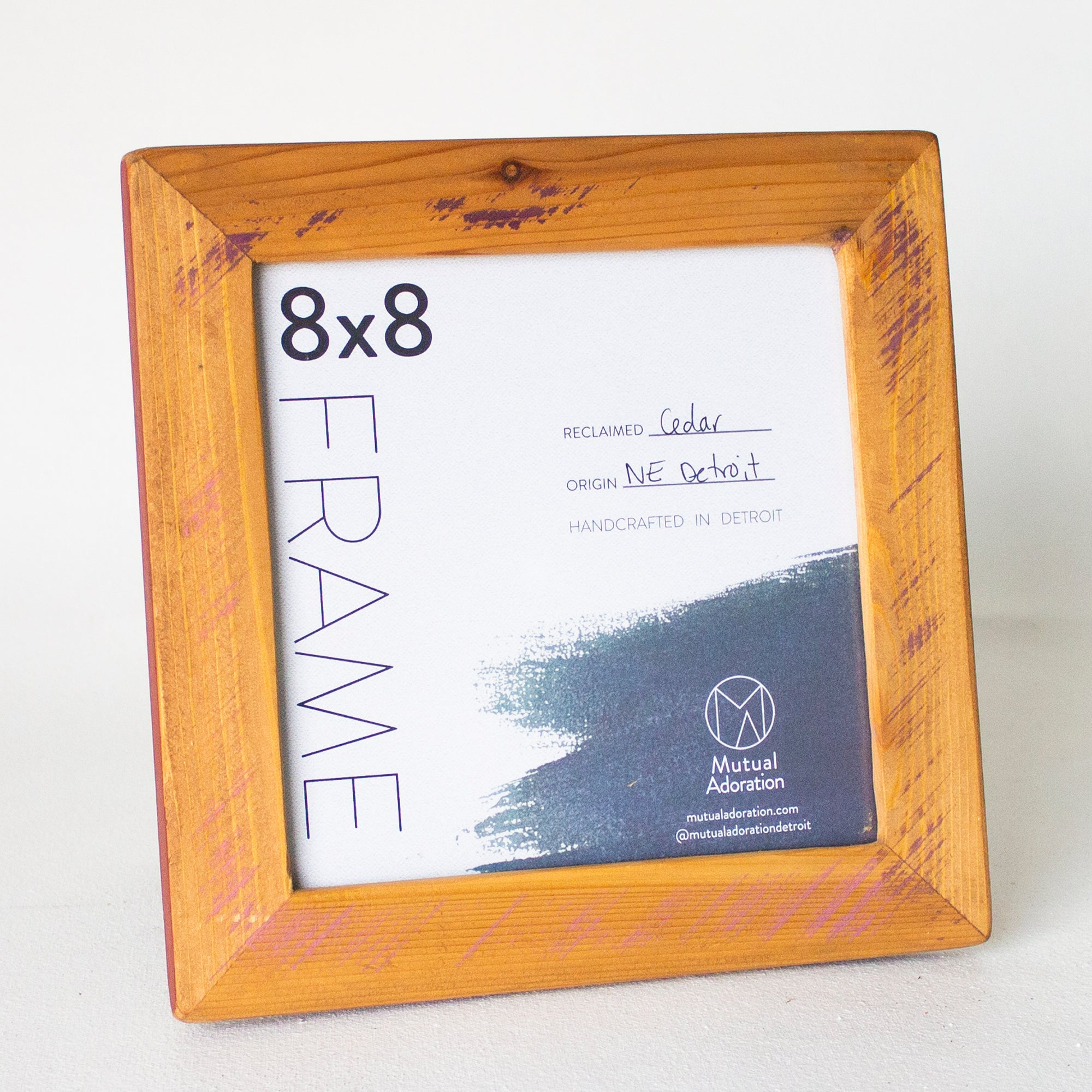 8x8 Reclaimed Cedar Picture Frame | Light Stain with Lavender