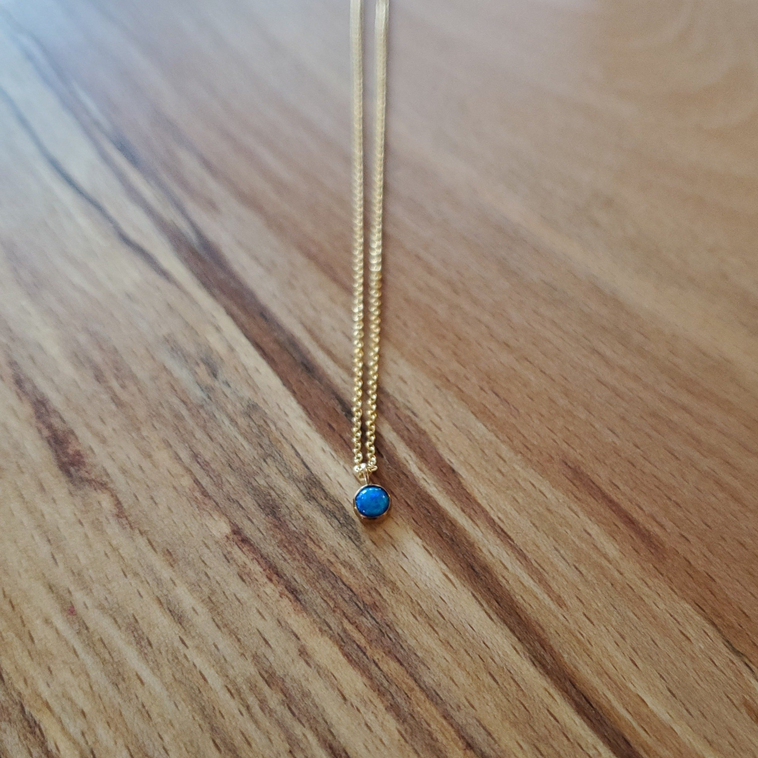 Dainty Blue Opal Pendant + Gold Fill Necklace