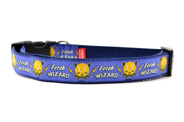 Dog Collar - Fetch Wizard on Purple Nylon - XS/S/M/L