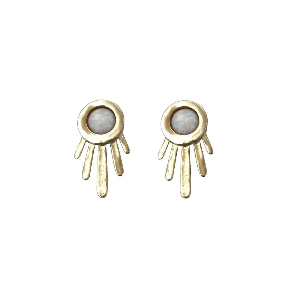 Brass + Opal Earrings - Burst