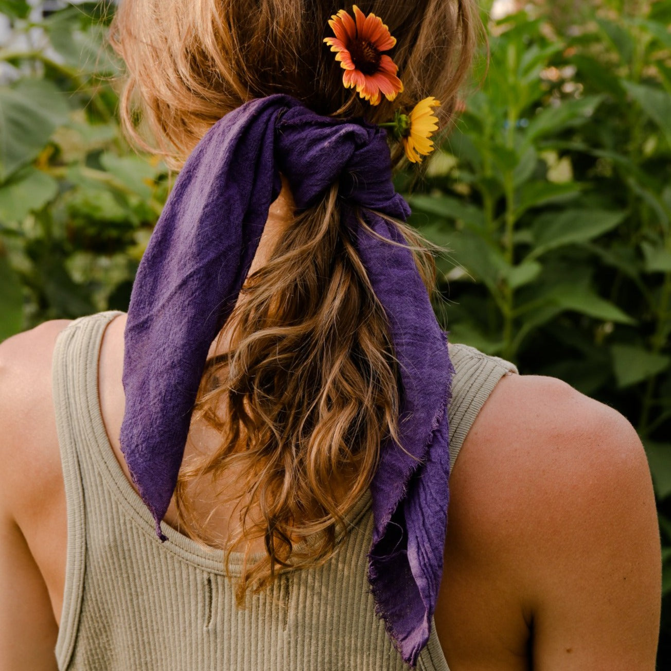 Plant Dyed Bandana Kerchief - Deep Violet Cotton Gauze, Rosemarine Textiles, Handcrafted Home Goods and Gifts