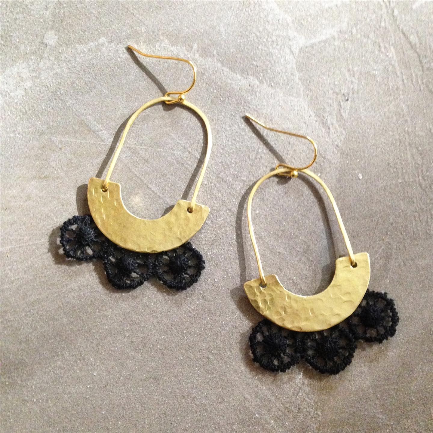 White Owl Jewelry - Black Lace + Hammered Brass Earrings