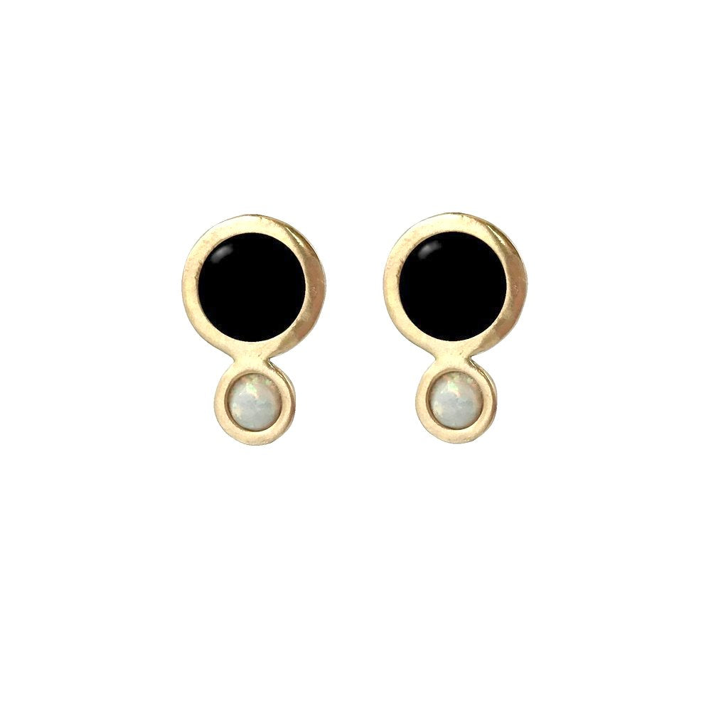 Therese Kuempel - Orbit Earrings With Large Black Onyx