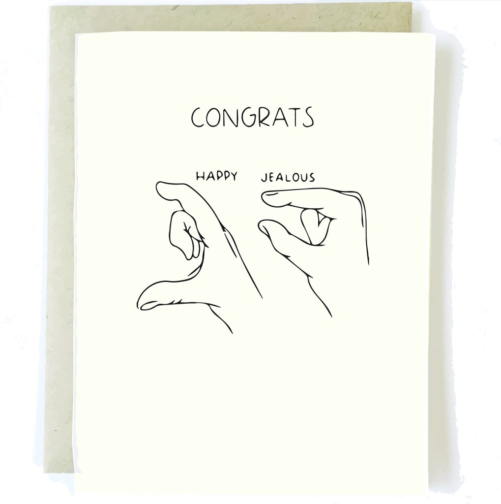 Congratulations Card - Congrats I'm Jealous, Pop + Paper, Handcrafted Home Goods and Gifts