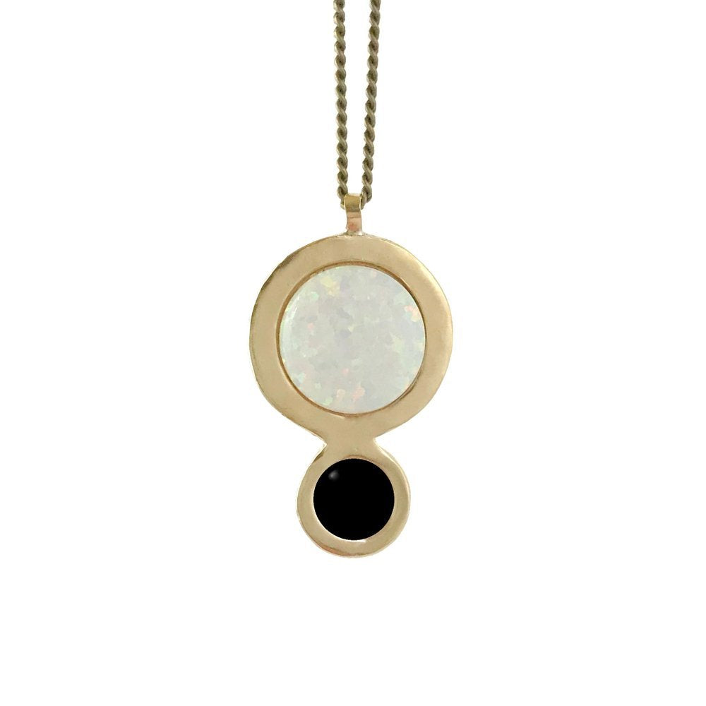 Therese Kuempel - Orbit Necklace With Opal + Onyx