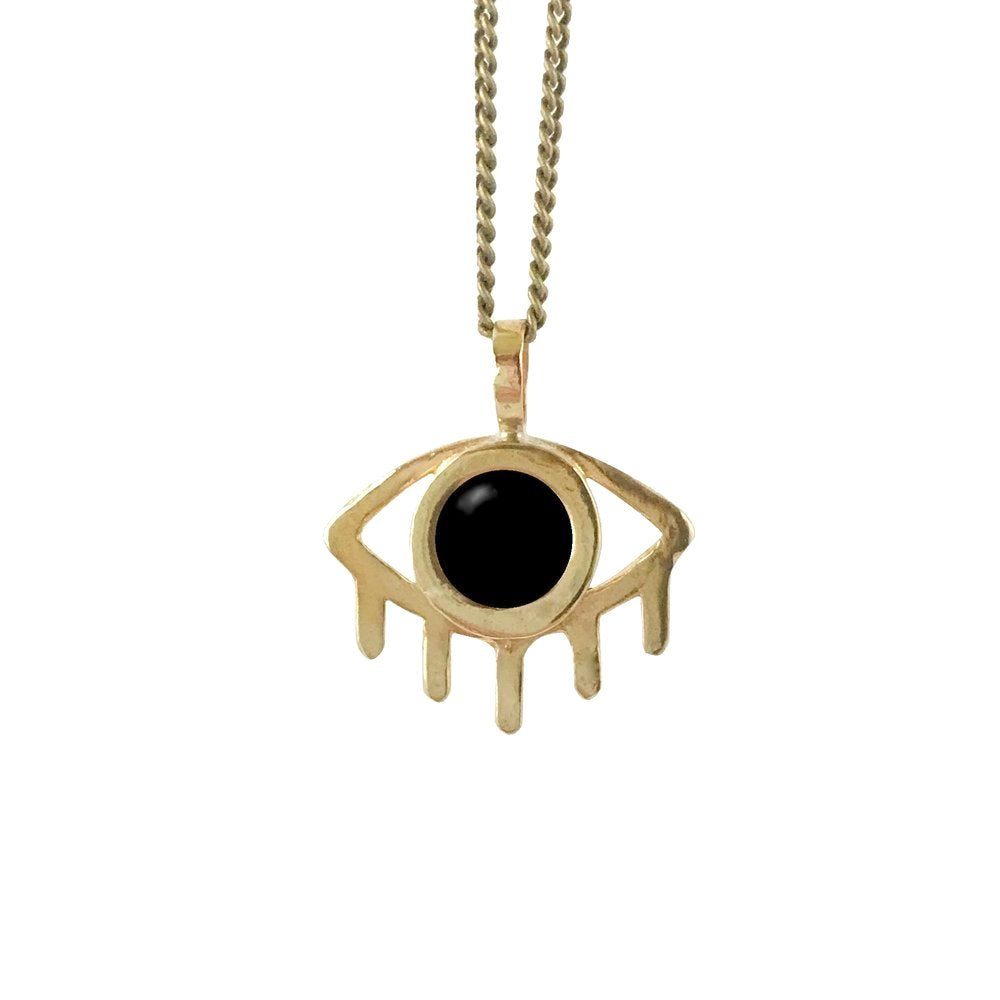 Brass + Onyx Necklace - Eye