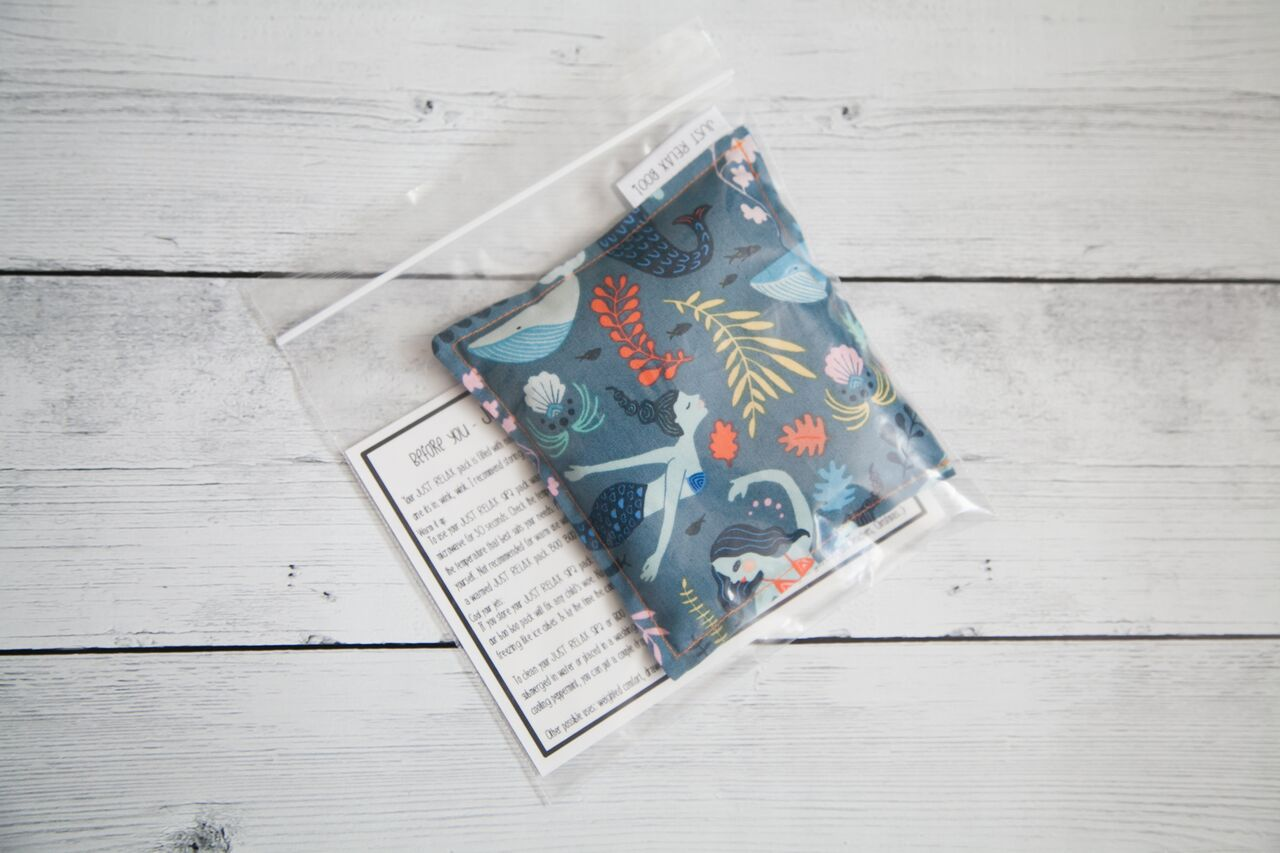 Lavender + Flax Filled Boo Boo Pack - Mermaid Pattern, Just Relax Boo, Handcrafted Home Goods and Gifts