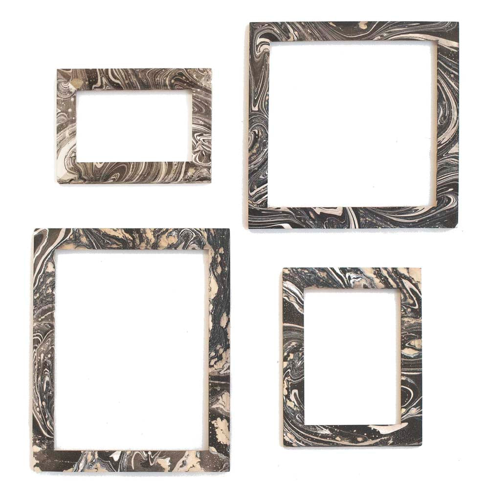 Hand Marbled Wood Frames - Black + White Collection