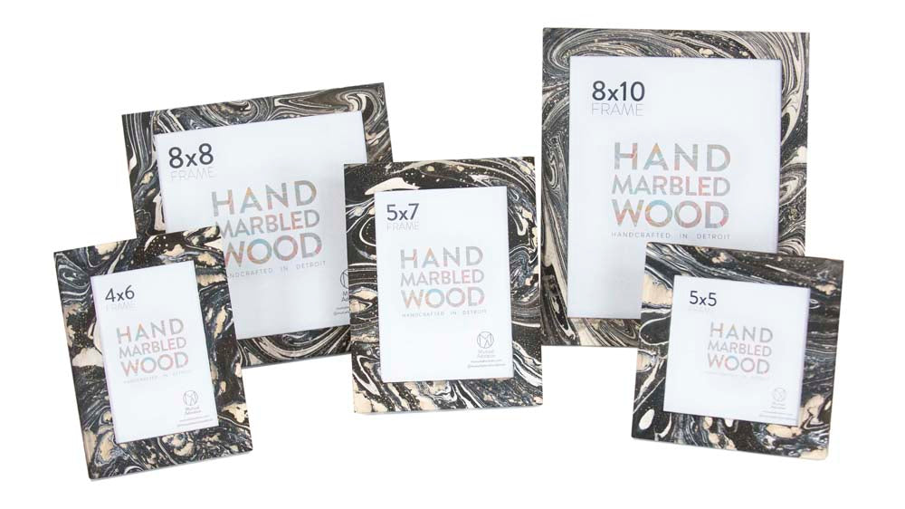 Hand Marbled Frames - Black and White
