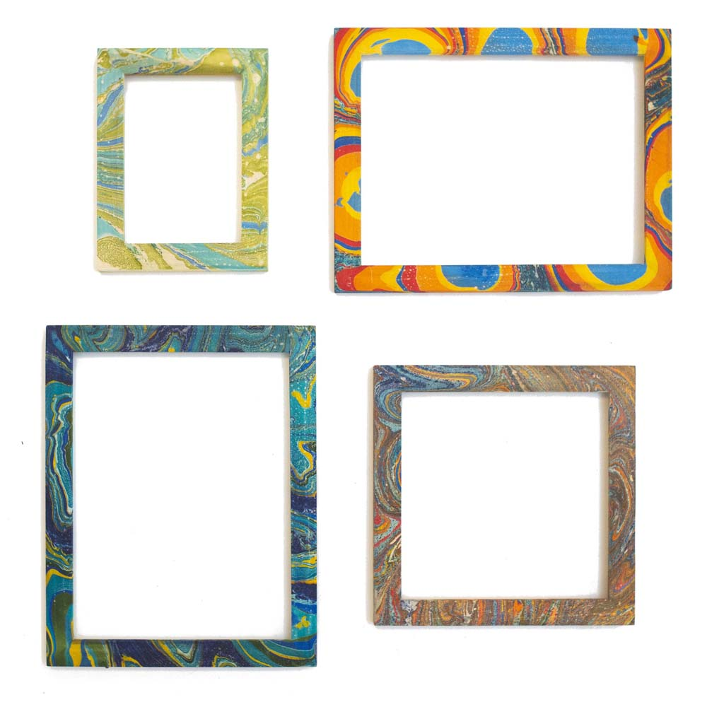 Hand Marbled Wood Frames - Colorful Collection