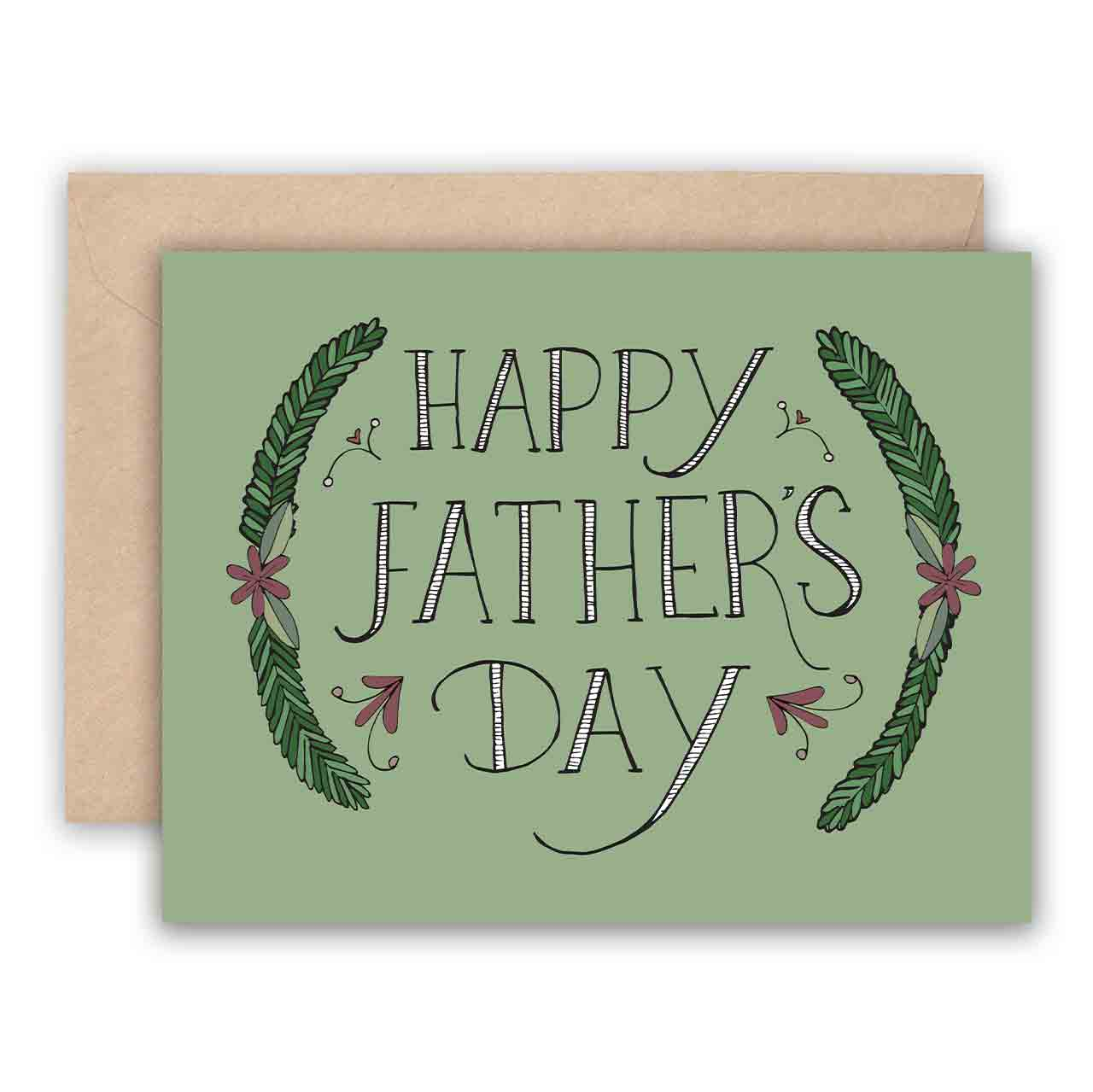 Father's Day Card - Hand Lettered with Green Garland, Jodi Lynn Burton, Handcrafted Home Goods and Gifts