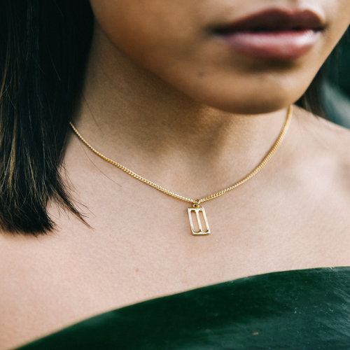 Brass Thessaly Necklace with Gold Fill Chain