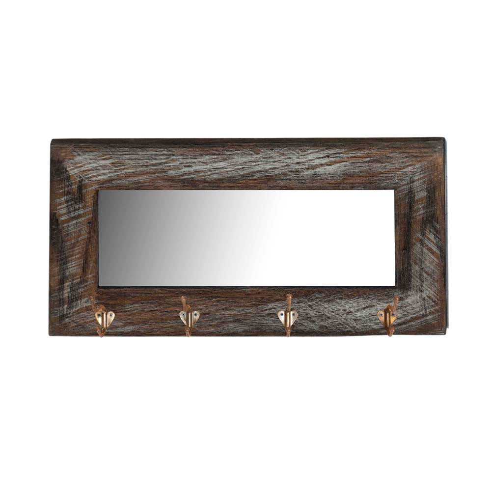 "Reclaimed Wood Mirror with Four Vintage Coat Hooks - 32""x16"""