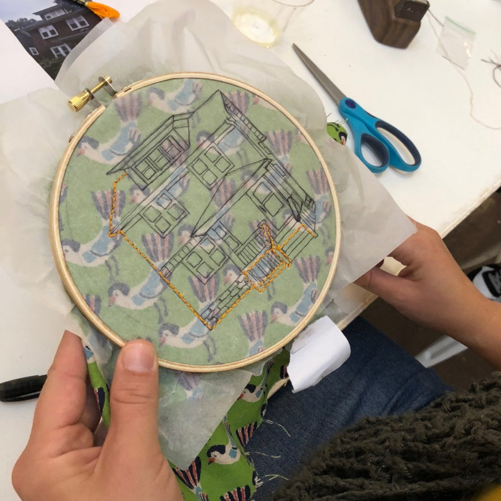 04/16 Embroidery Workshop: Patterns and Outlined Images on Thursday April 16 at 6pm