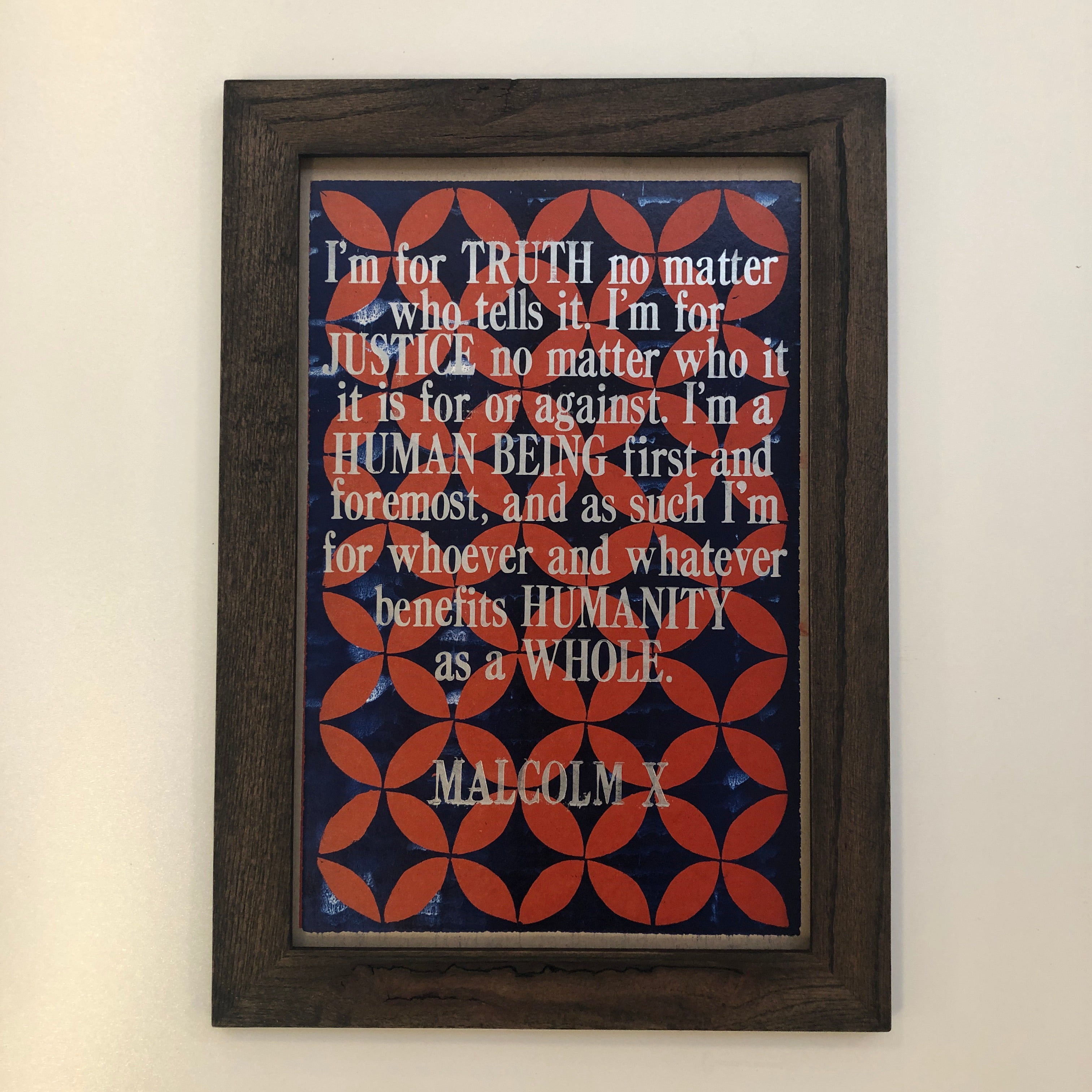 Framed Letterpress Poster - Malcolm X Quote + Pattern - 12.5x19 Print, Regan Detwiler, Handcrafted Home Goods and Gifts