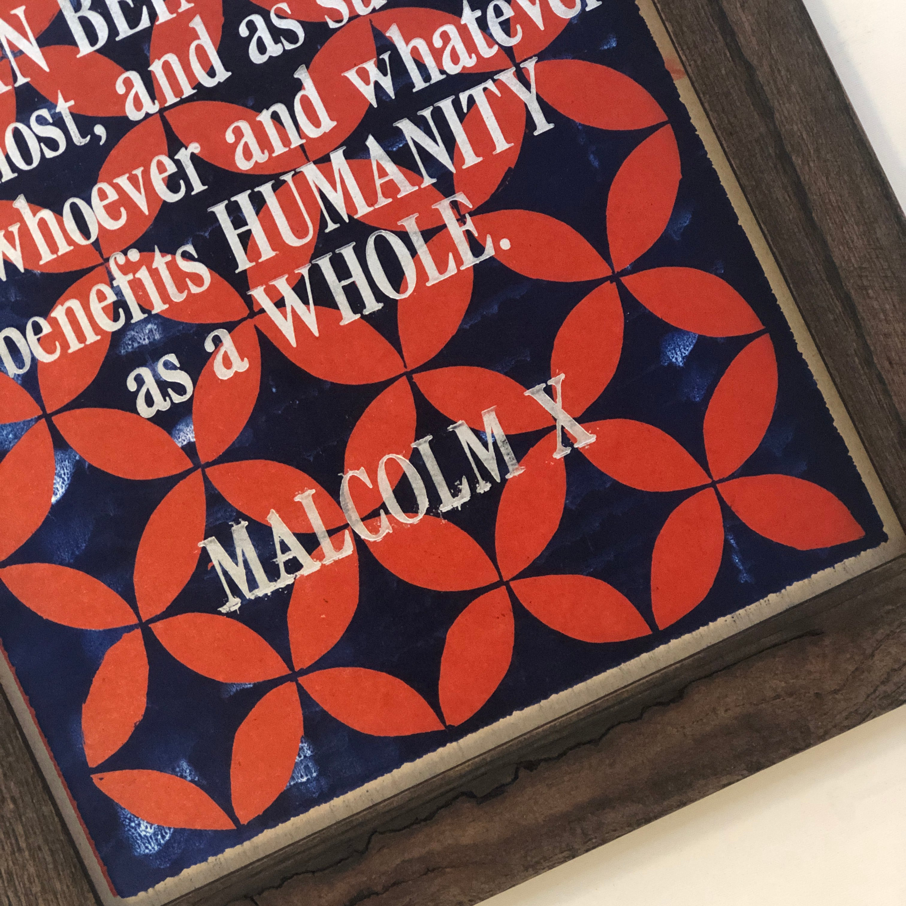 Framed Letterpress Poster - Malcolm X Quote + Pattern - 12.5x19 Print