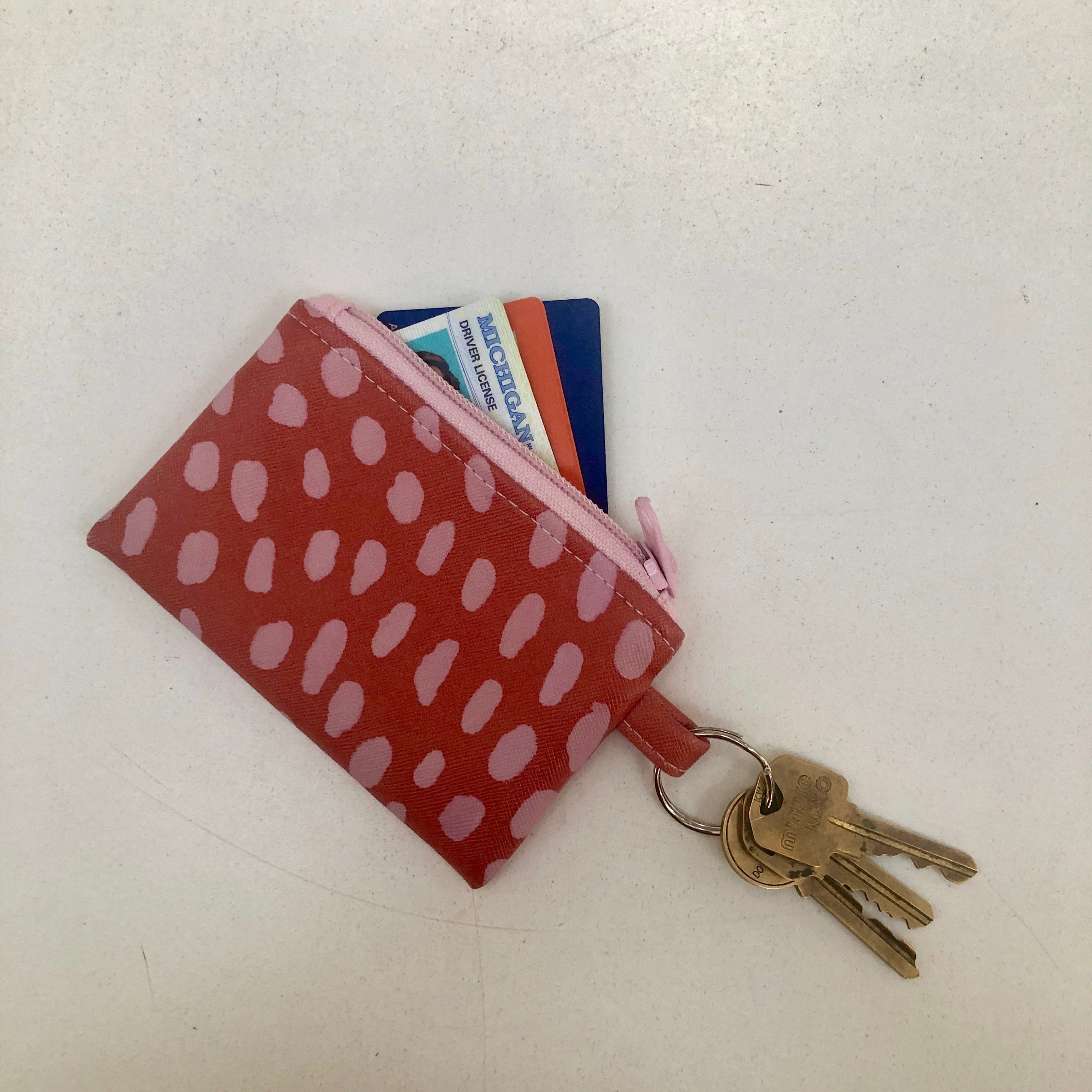 Key Ring Zip Pouch Wallet - Coral Pink, Talking Out of Turn, Handcrafted Home Goods and Gifts