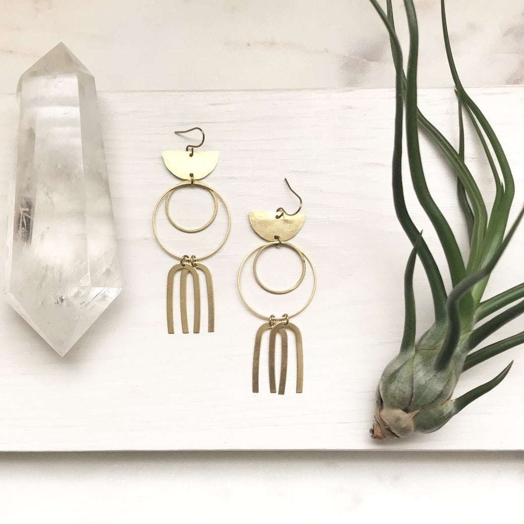 Hammered Brass Earrings - Large Circles + Arcs