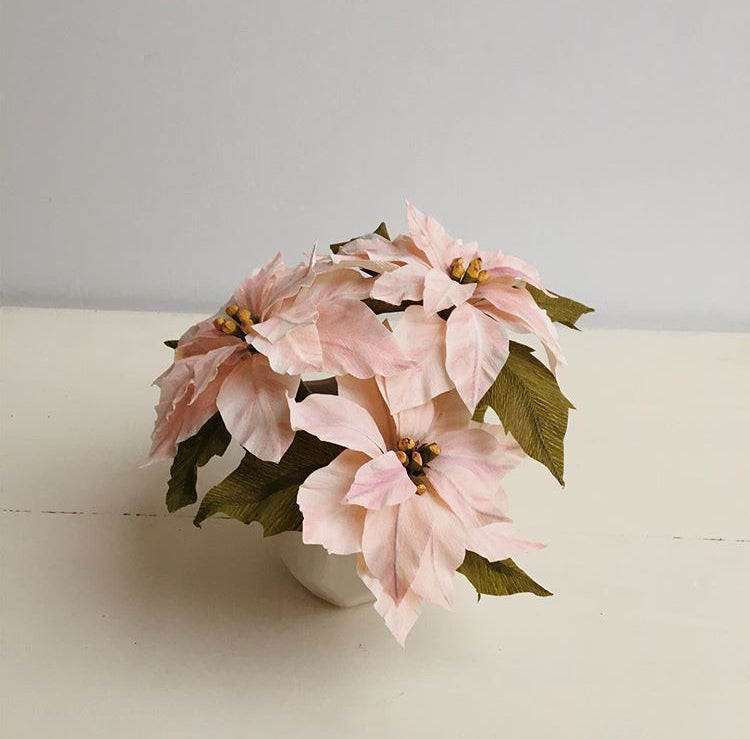 12/21 Paper Flower Workshop: Holiday Poinsettias on Saturday December 21 at 10:30am