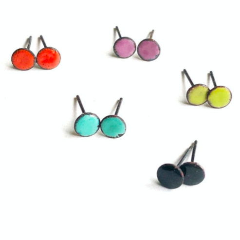 Enameled Circle Stud Earrings - Micro, Courtney Fischer, Handcrafted Home Goods and Gifts
