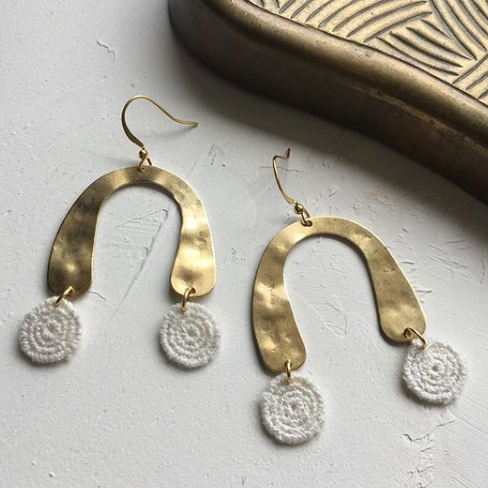 White Owl Jewelry - Cream Dot Lace + Hammered Brass U Earrings