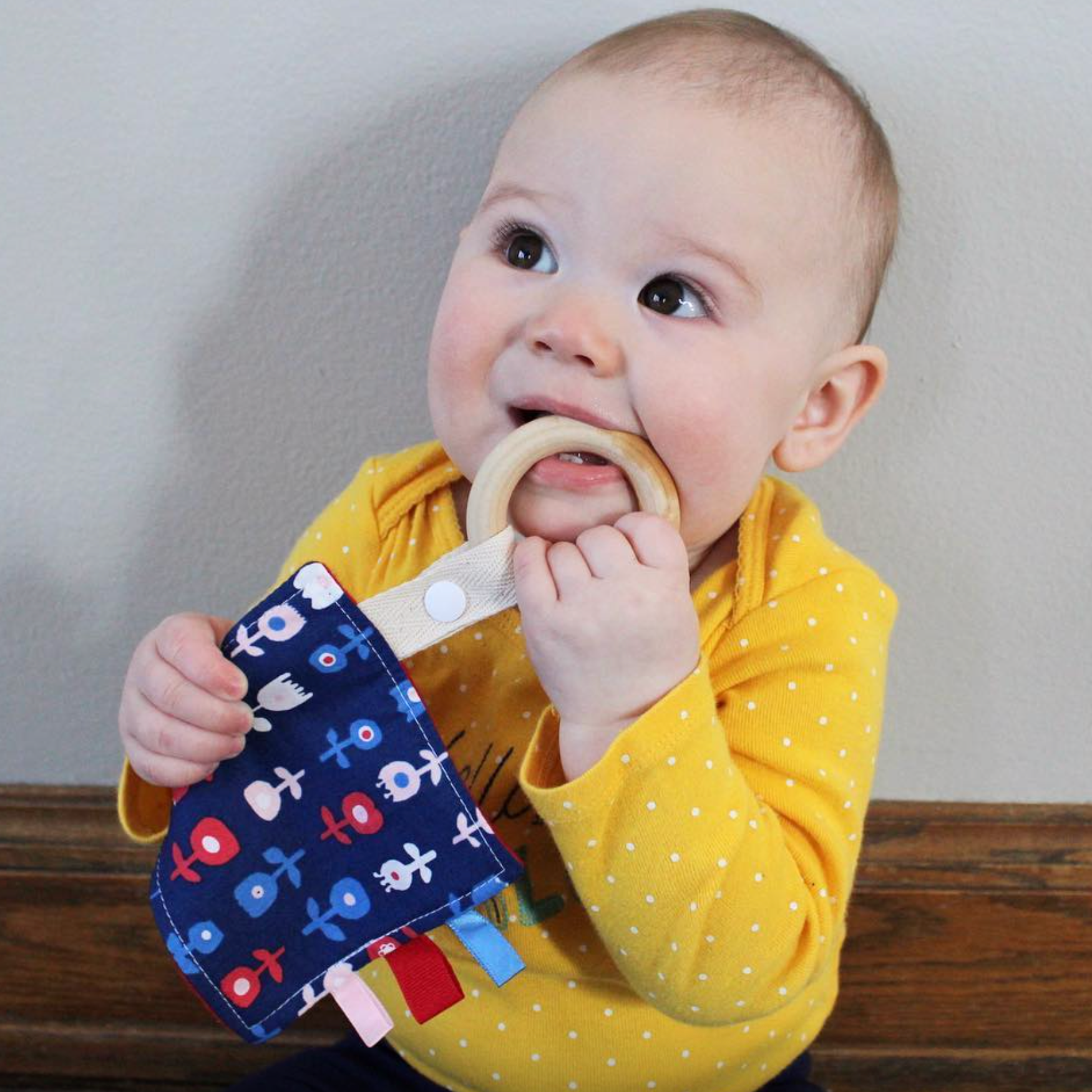 Baby - Cats Wooden Sensory Teether Organic Cotton