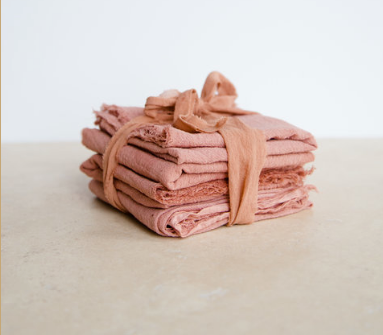 Naturally Dyed Cotton Gauze Napkins - Set of 4 - Terracotta, Rosemarine Textiles, Handcrafted Home Goods and Gifts