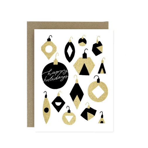 Holiday Card - Gold + Black Ornaments