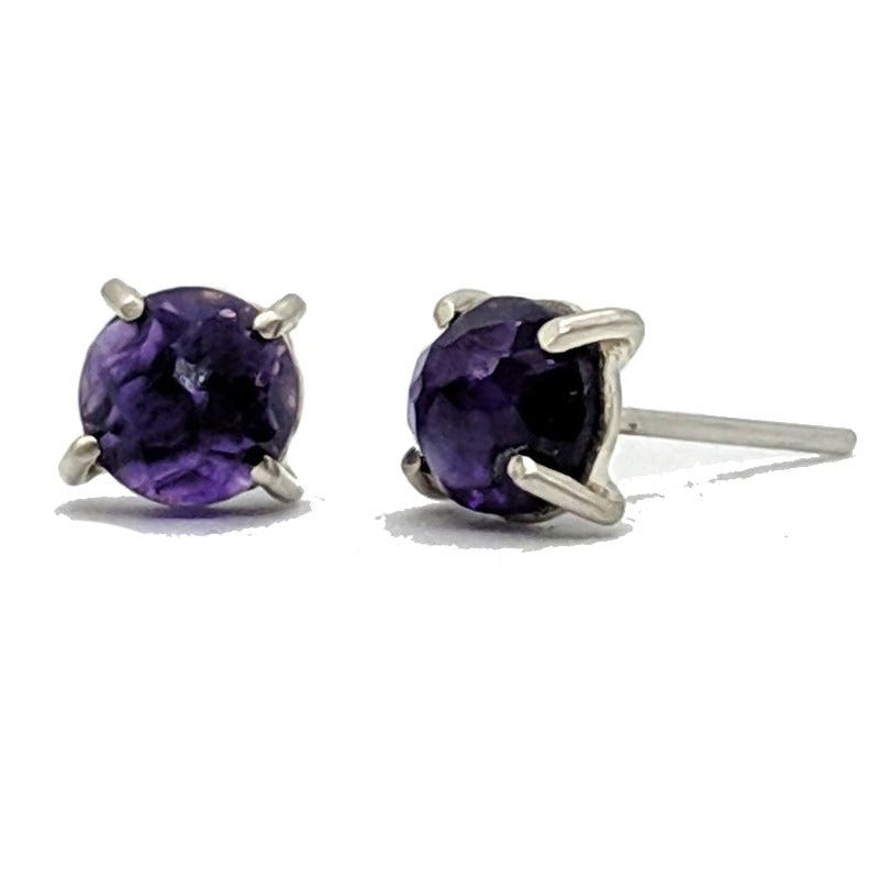 Christine Bossler Stud Earrings - Sterling Silver + 6mm Amethyst, Christine Bossler, Handcrafted Home Goods and Gifts