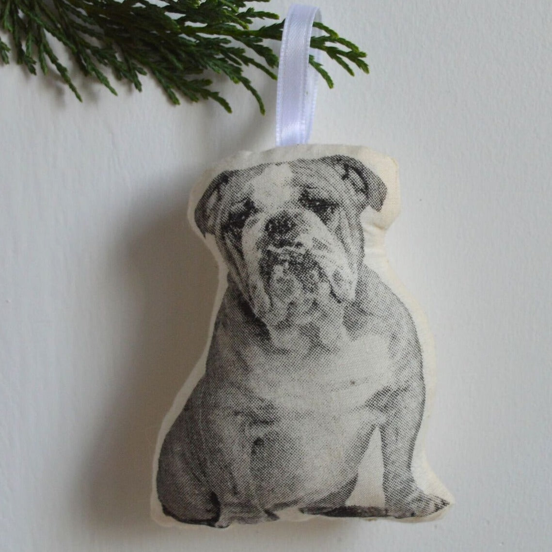 Stuffed Bulldog Ornament, Broderpress, Handcrafted Home Goods and Gifts