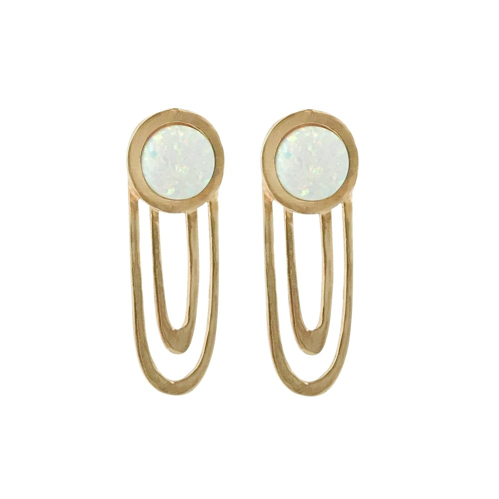 Therese Kuempel - Large Ripple Statement Earrings With Opal