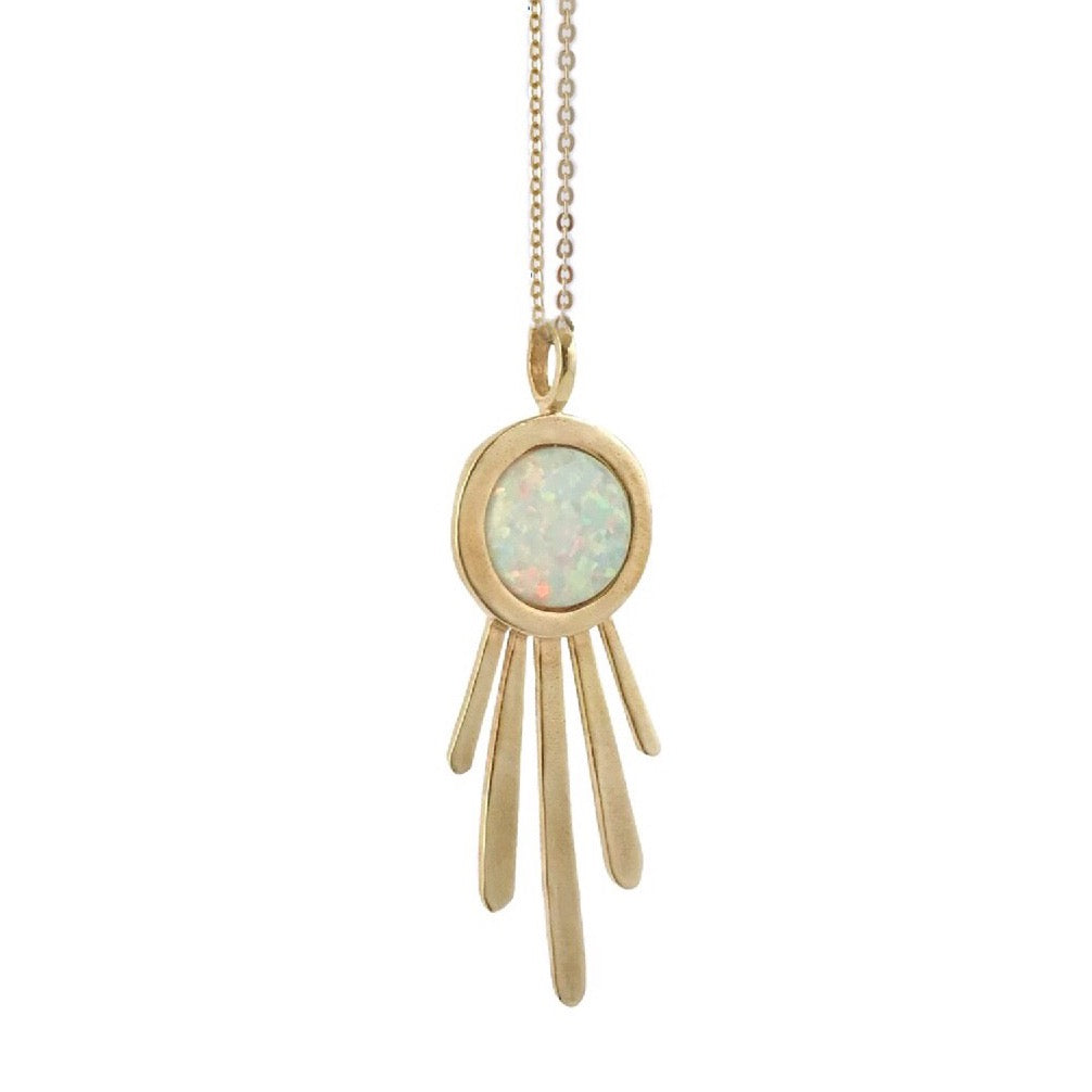Therese Kuempel - Brass + Opal Burst Necklace