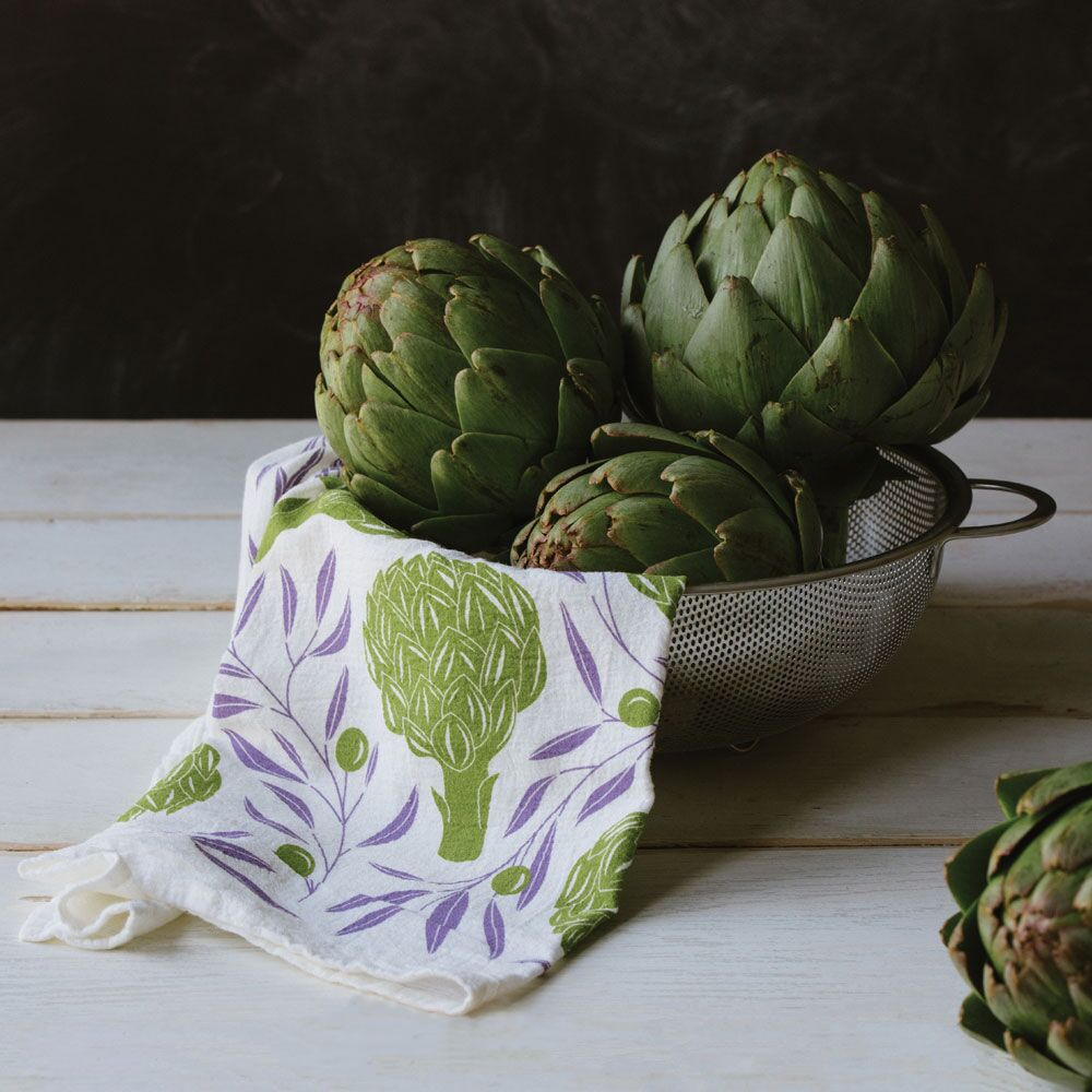 Tea Towel - Artichokes and Olives