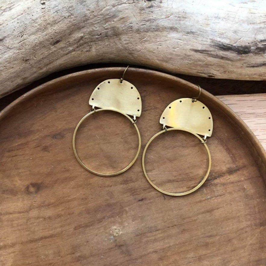 Brass Desert Sun Earrings