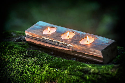 Reclaimed Wood Tea Light Candle Holder Small | Candle Centerpiece | Handcrafted Rustic Boho Beachy Home Decor | Many Colors Available | TLP3