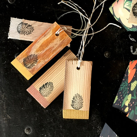 Wooden Gift Tags | Holiday Tags | Seasonal Gift Tags | Handcrafted Reclaimed Wood | Metallic Hand-painted Gift Tags | Rustic Gift Wrap