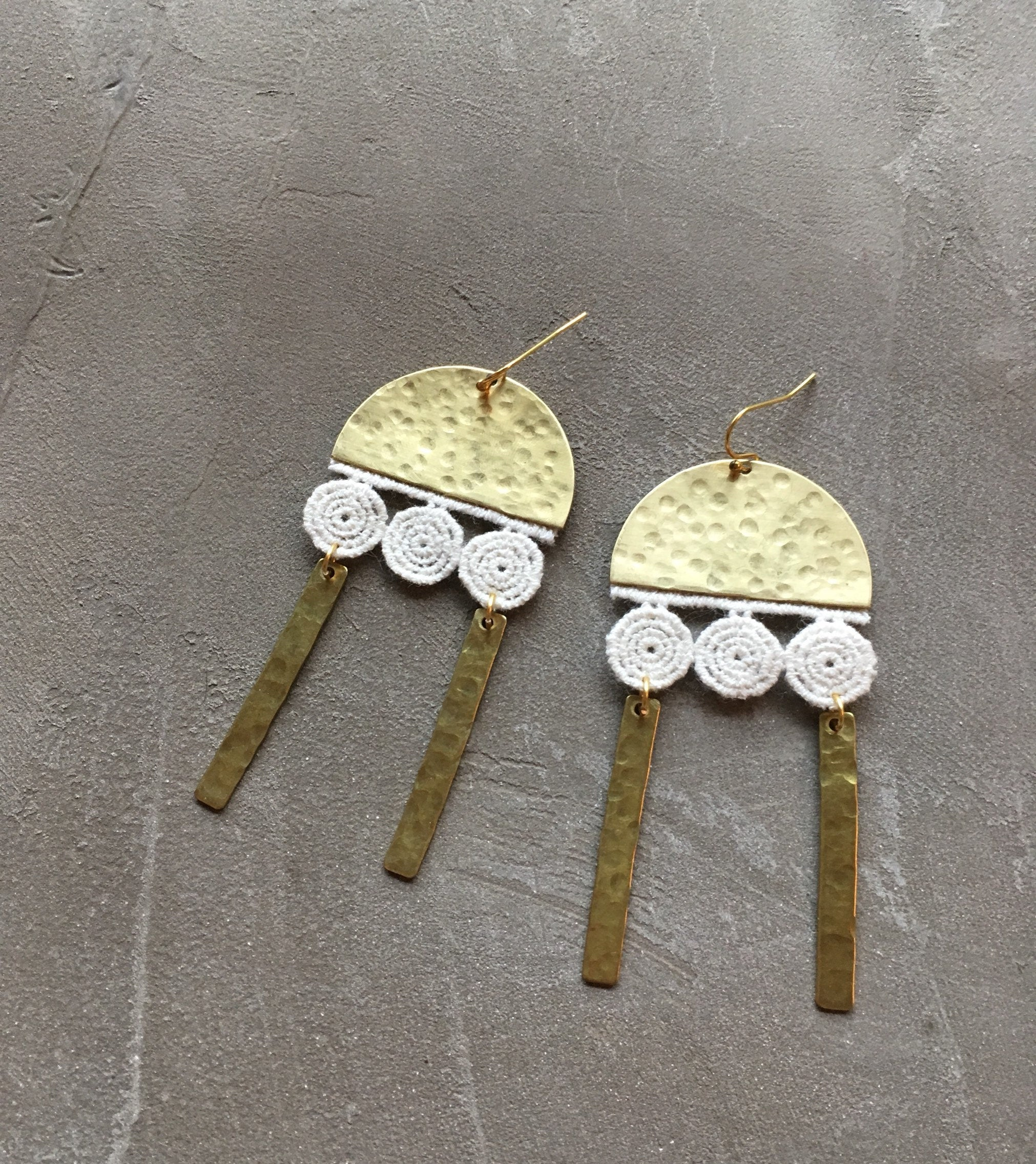 White Owl Jewelry - Ivory Lace + Hammered Brass Earrings